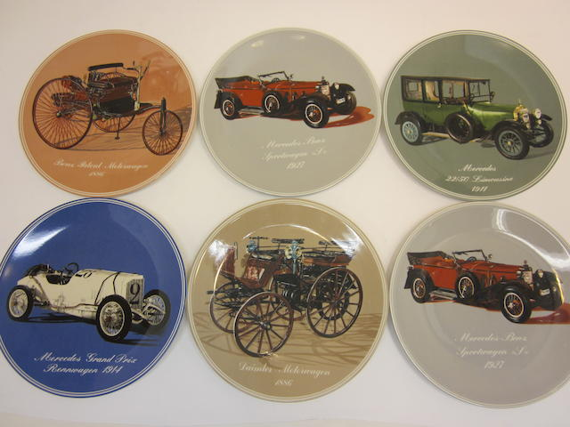 A set of six decorative plates of Mercedes-Benz motorcars,