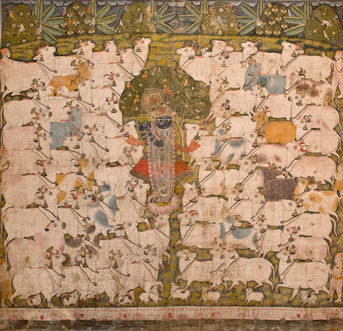 Pichiwai of Krishna and Cows Opaque watercolor on cloth, Nathdwara, 19ht century