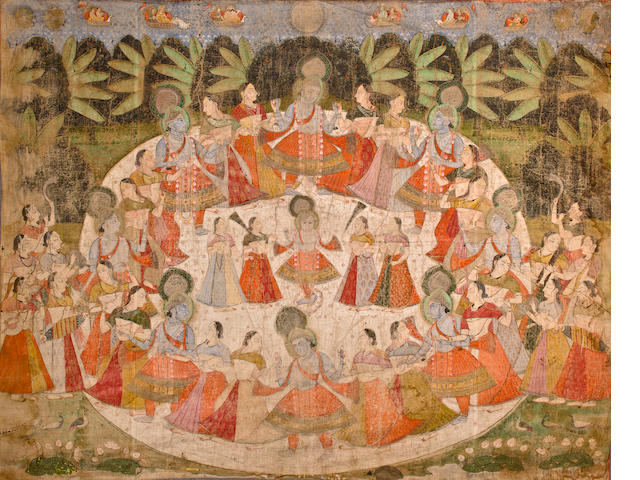 Pichiwai of Krishna Dancing Watercolor on cloth, Nathdwara, early 20th century