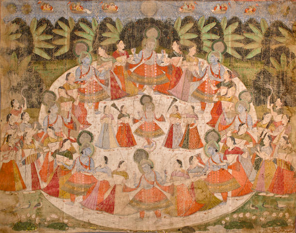 Pichiwai of Krishna Dancing Watercolor on cloth, Nathdwara, early 20th century