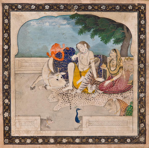 The Holy Family at rest Opaque watercolor and gold on paper, Kangra, circa 1810-20