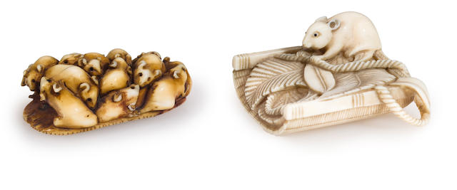 Ivory netsuke of rats; rat on winnow, 19th century