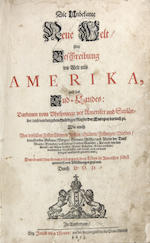 MONTANUS, ARNOLDUS. Unbekante Neue Welt... Amerika. Amsterdam: 1673. **missing all maps, many pages torn**