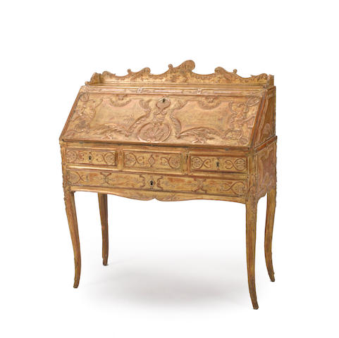 An Italian Rococo style giltwood secretaire 19th century