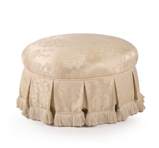 A Contemporary ivory brocade silk upholstered ottoman