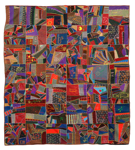 "A pieced woolwork ""crazy"" quilt"