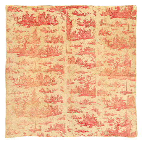 A French toile sewn bed cover