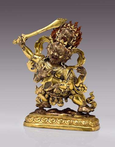 A gilt copper alloy figure of Chaturbhuja Mahakala Tibeto-Chinese, 18th century