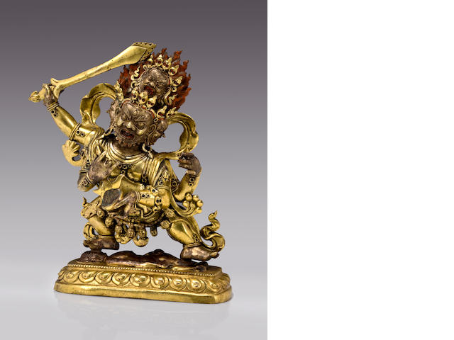 Mahakala Gilt Bronze, Tibet, figure: 9 in., including base: 9 15/16 in.