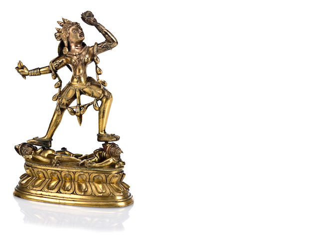 Dakini, Gilt Bronze, height including base: 7 1/8 in.