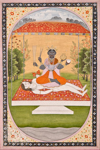 Illustration from a Mahavidya series: Tripurasundari Opaque watercolor on paper, Kangra, 18th century