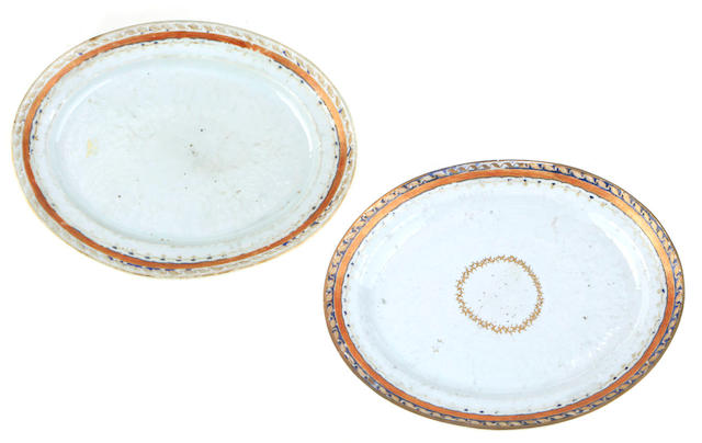 A group of four Chinese Export platters- inspection