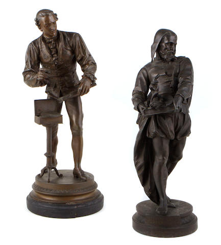 Two patinated metal figures of artists