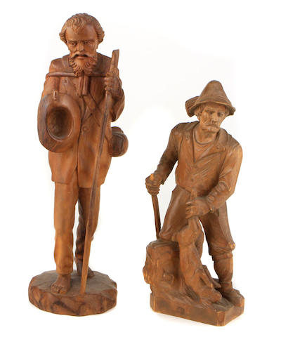 Two Black Forest carved walnut figures