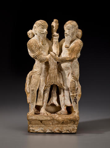 Two Chandella kings Buff sanstone with earth pigments, Madhya Pradesh, Central India, 10th/11th Century