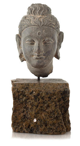 A small gray schist head of Buddha Ancient region of Gandara, 2nd/3rd Century