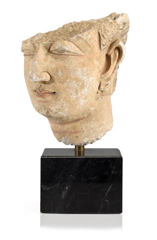 Fragment of Gandharan Stucco, Head of Buddha, Circa 4th Century