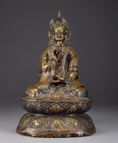 A copper alloy repousse figure of Padmasambhava Tibet or Bhutan, 18th century
