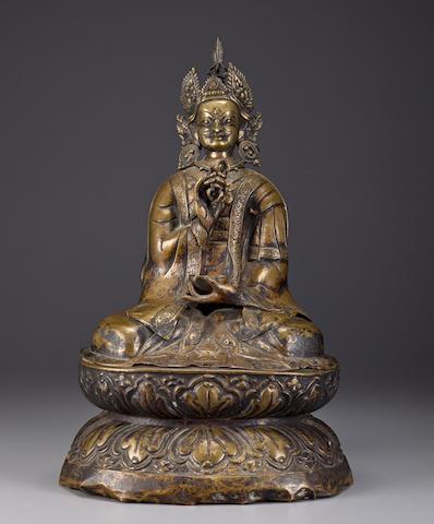 Padmasambhava, copper alloy repousse, Tibet, 18th century