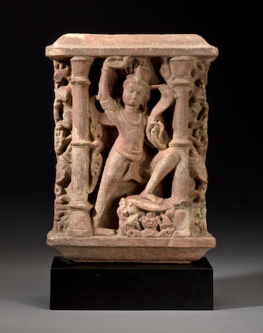A relief panel of Shiva, red sandstone, Central India, circa 11th century