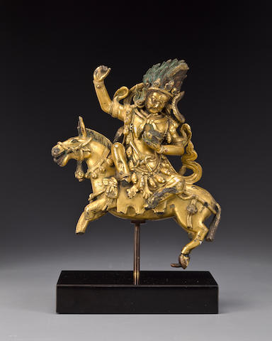 Palden Lhamo, gilt copper alloy and pigments, Tibet, 17th/18th century