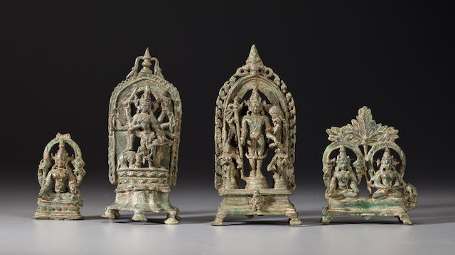 Four small copper alloy shrine images Eastern India, circa 12th century