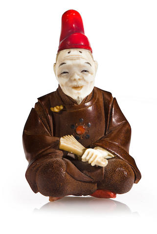 Wood and ivory seated figure, Akishige, late 19th century