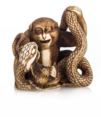 Ivory netsuke of monkey, snake with bird by Seigyoku, late 19th century