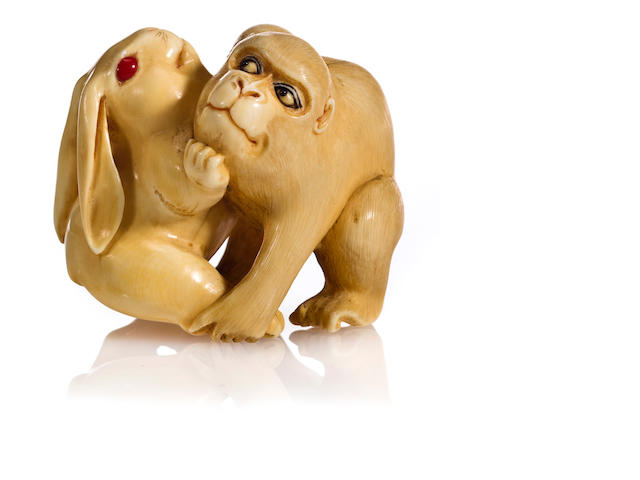 Ivory netsuke of monkey and rabbit, late 19th century