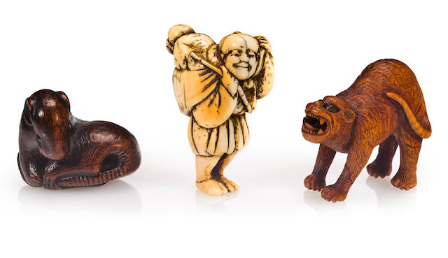 Three figural netsuke