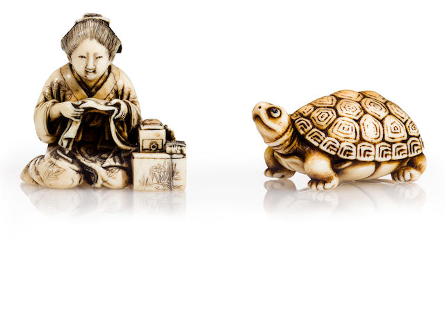 Ivory netsuke of a turtle, ivory netsuke of a woman sewing, 19th century