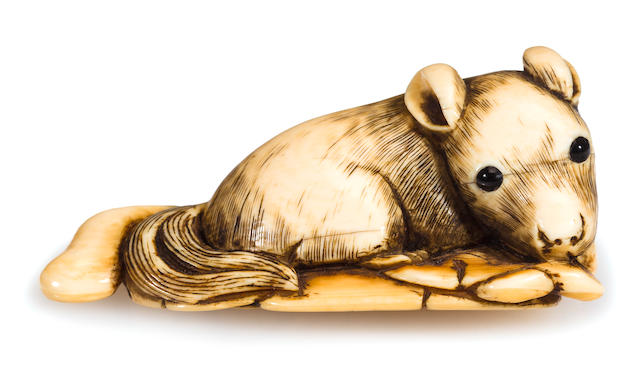 Ivory netsuke of squirrel on grapes, 19th century