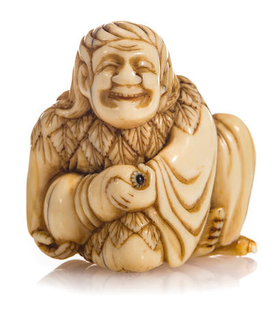 An ivory netsuke of Chokwaro By Jikoku, Edo period (18th century)