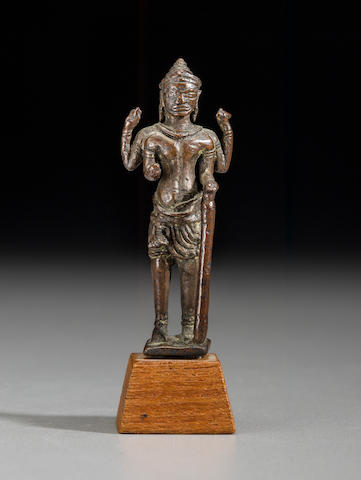 A copper alloy figure of Vishnu Cambodia, Baphuon style, 10th century