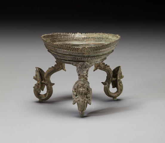 Copper alloy ritual stand Cambodia, 12th/13th century