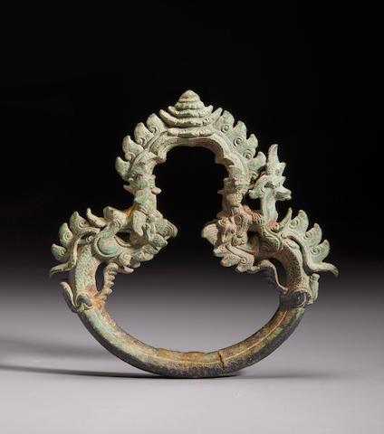 Copper alloy palanquin ring Cambodia 12th/13th century