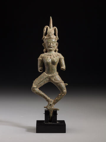 Copper alloy figure of a dancing female Cambodia, 12th century