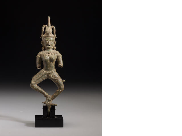 Copper alloy figure of a dancing female Cambodia, 12th century