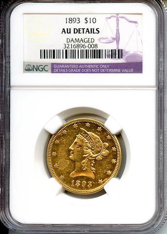 1893 $10 AU Details, Damaged NGC