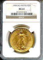 1908 $20 MS63 No Motto NGC
