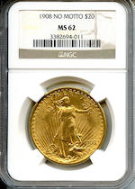 1908 No Motto $20 MS62 NGC