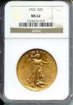 1922 $20 MS62 NGC