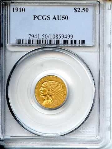 1910 $2.5 AU50 PCGS