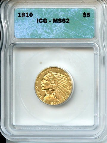 1910 $5 MS62 ICG