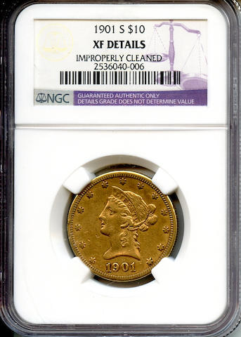 1901-S $10 XF Details, Improperly Cleaned NGC