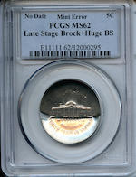 (Undated) Jefferson 5C Late Stage Brockage + Broad Strike MS62 PCGS