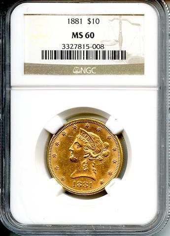 1881 $10 MS60 NGC