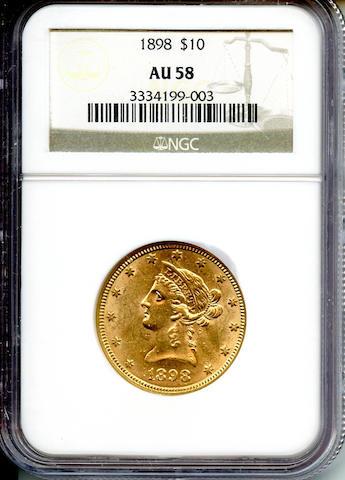 1898 $10 AU58 NGC
