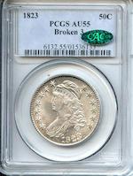 1823 50C Broken 3 AU55 PCGS