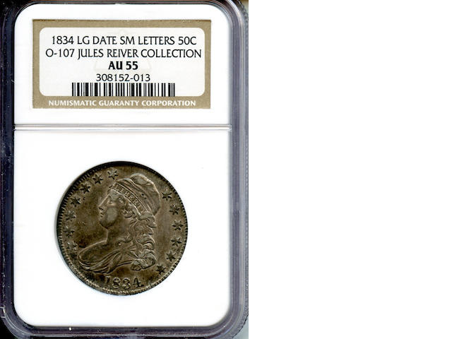 1834 50C Large Date AU55 NGC